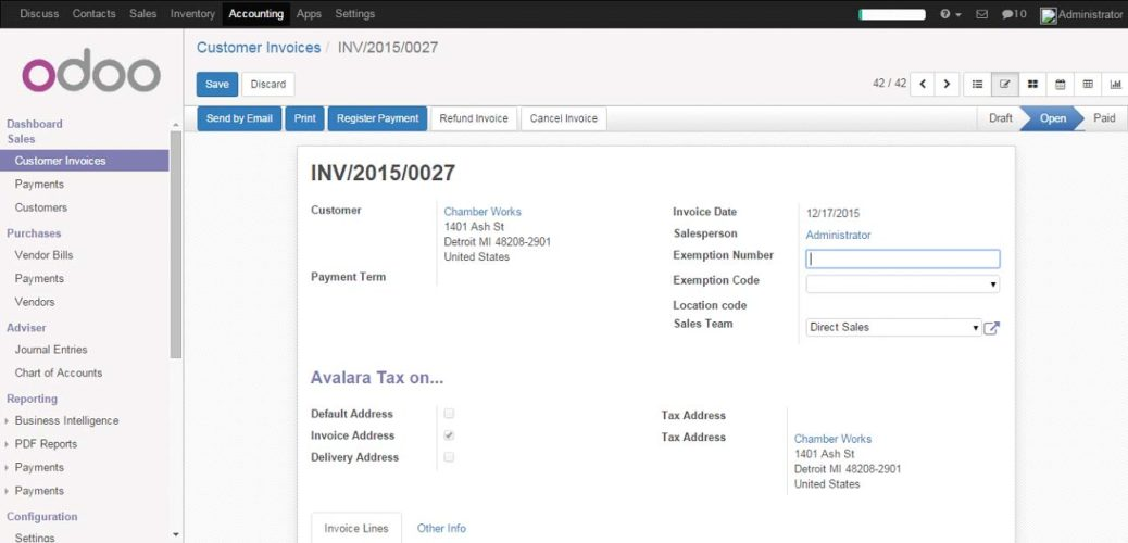 Validate Invoice and register payment