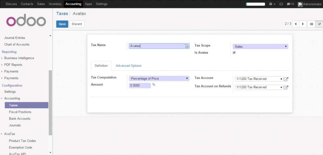 Configure AVATAX Tax Type
