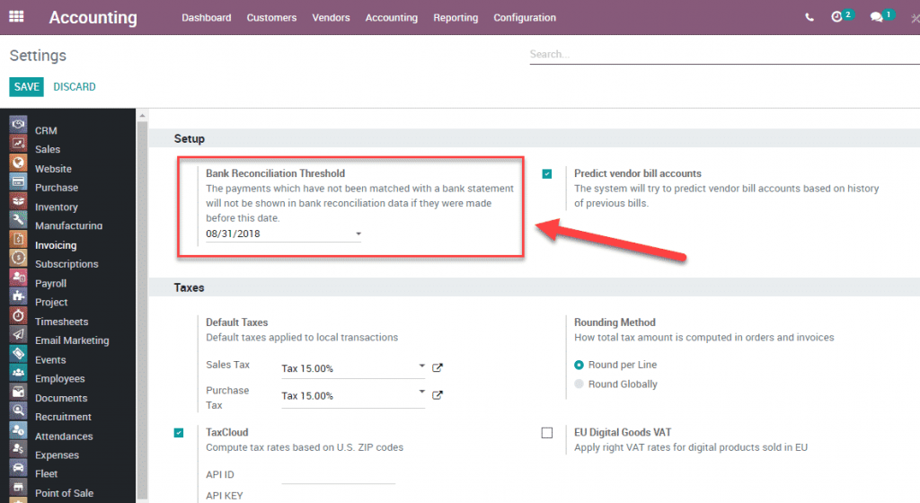 Odoo 12 006 - Accounting bank reconciliation threshold