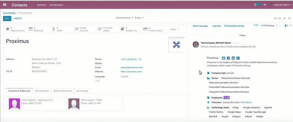 Odoo 12 benefits 006 - customer creation