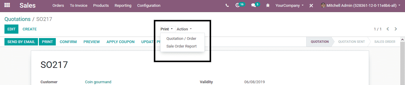 odoo sales management