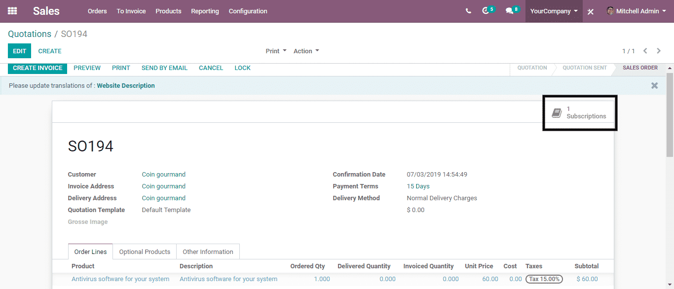 Odoo Subscription