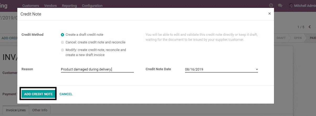 odoo invoicing