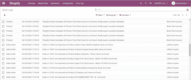 Error Log: Here you can see all the error logs there were generated during export or import of records. It will show description, date, object for which error occurred and shopify configuration