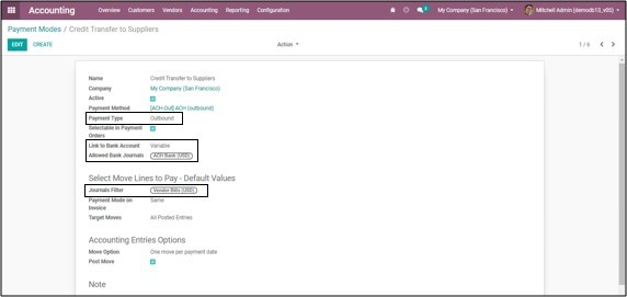 Odoo Ach module payment configuration
