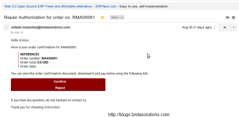 Odoo ERP Automated mail
