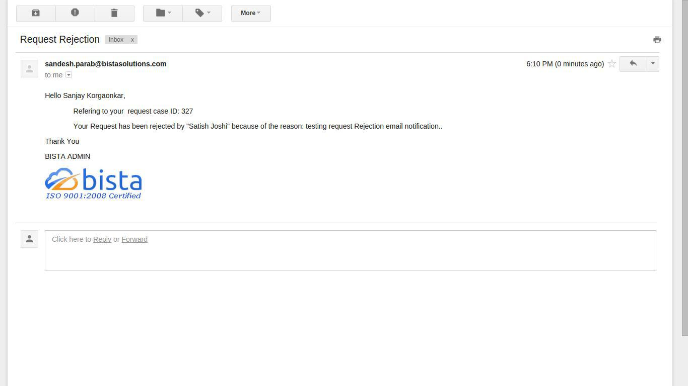 Request Rejection Email Notification